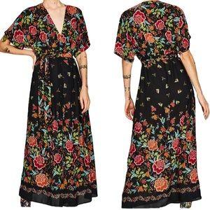 ZARA | Sheer Floral Maxi Tie Waist Dress